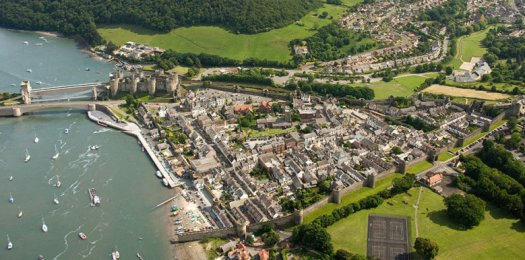 Conwy (featuring Castle & walled town) Aerial North Towns & Villages