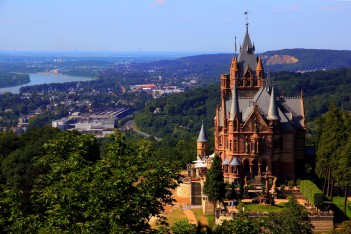 Castle View Drachenburg Hill Bonn Germany Drachenfels Spire Schloss Trees Photo Gallery